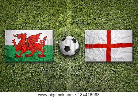 Wales Vs. England Flags On Soccer Field