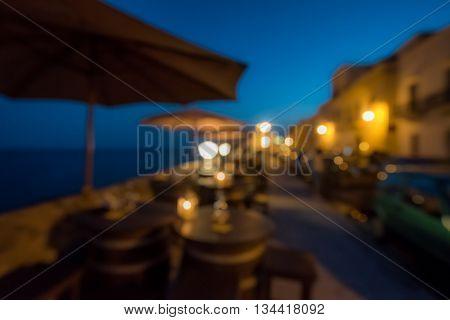 Highly detailed image of seaside bar defocused night scene