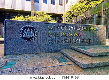 Philadelphia USA - May 4 2015: City of Philadelphia One Parkway on 1515 Arch Street Pennsylvania the USA