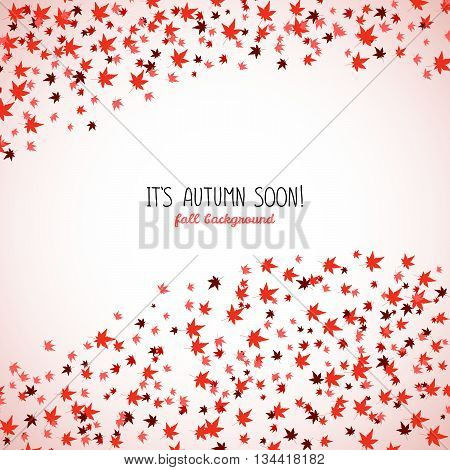 Wavy band made from red maple leaves. Fall is coming. Copy space. Background of autumn leaves. Momiji. Frame for text. Autumn concept. Vector illustration.