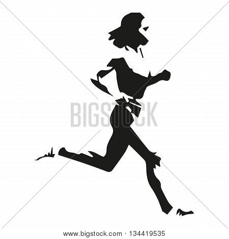 Running woman, abstract isolated illustration of running girl
