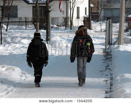 2 Boys Is Walking To School.