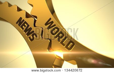 World News on Mechanism of Golden Metallic Cogwheels. World News on the Mechanism of Golden Metallic Cogwheels with Glow Effect. World News - Illustration with Glowing Light Effect. 3D Render.