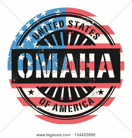 Grunge rubber stamp with the text United States of America, Omaha, vector illustration