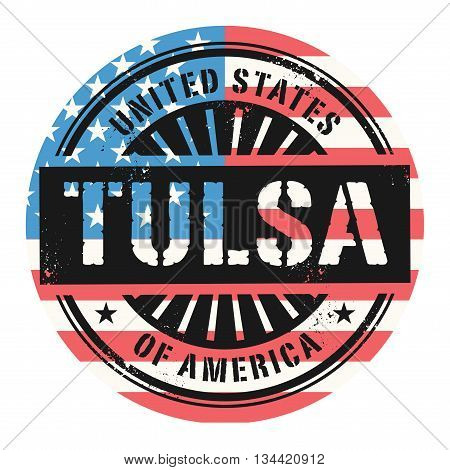 Grunge rubber stamp with the text United States of America, Tulsa, vector illustration