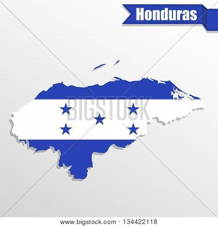 Honduras map with flag inside and ribbon