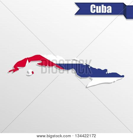 Cuba map with flag inside and ribbon