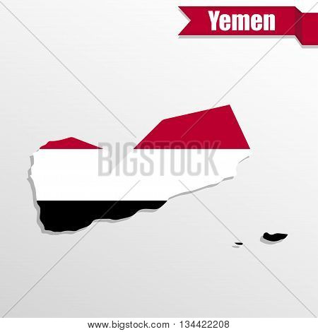 Yemen map with flag inside and ribbon