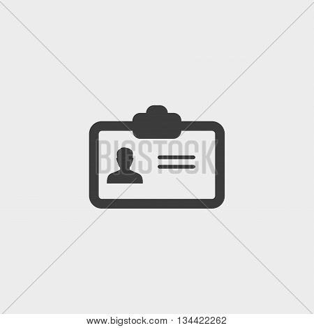 business card Icon in a flat design in black color. Vector illustration eps10