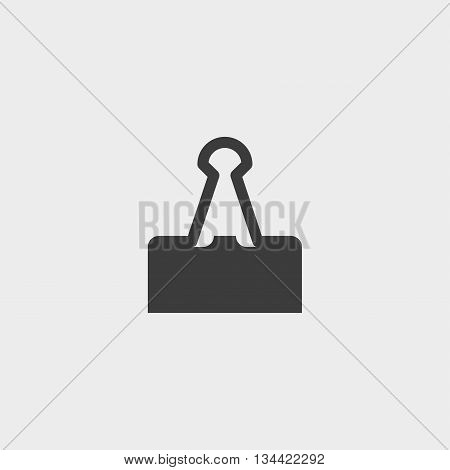 Binder clip icon in a flat design in black color. Vector illustration eps10