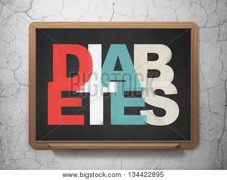 Medicine concept: Painted multicolor text Diabetes on School board background, 3D Rendering
