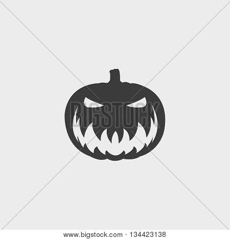 halloween pumpkin icon in a flat design in black color. Vector illustration eps10