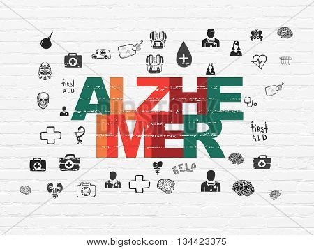 Medicine concept: Painted multicolor text Alzheimer on White Brick wall background with  Hand Drawn Medicine Icons