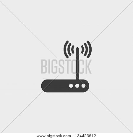 Wifi router icon in a flat design in black color. Vector illustration eps10