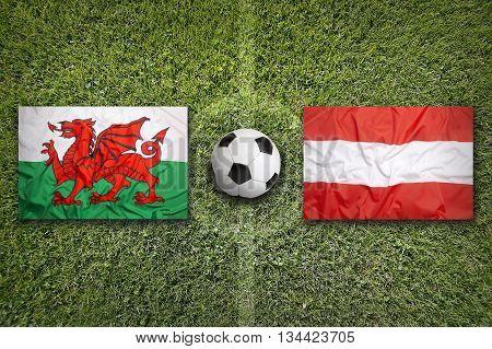 Wales Vs. Austria Flags On Soccer Field