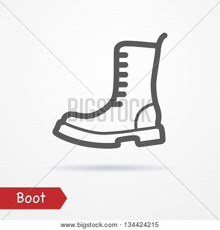 Military boot in line style. Typical simplistic army boot. Heavy boot isolated icon with shadow. Military boot vector stock image.