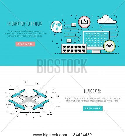 Air drone infographic in flat line style. Network equipment: computer patch cord switch network switch. Vector illustration