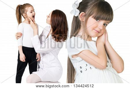 Girl portrait close-up and doctor examining throat of other little girl isolated on white