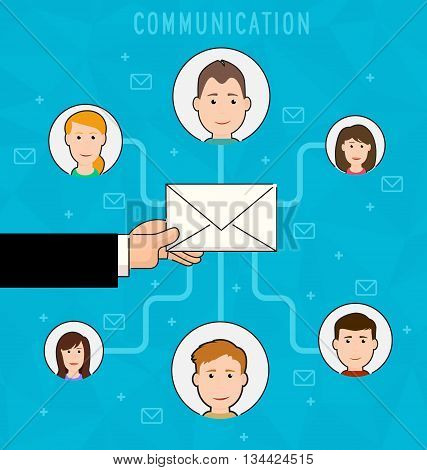 Communication process flat web infographic of running email campaign. Human hand holding an envelope spreading information thought email distributing channel to customers. Vector