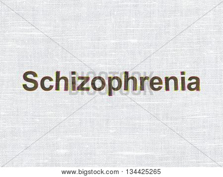 Health concept: CMYK Schizophrenia on linen fabric texture background