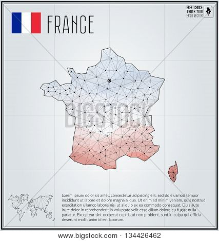 France map in geometric polygonal style. Polygonal abstract world map. Vector illustration. France flag. Paris pointer.