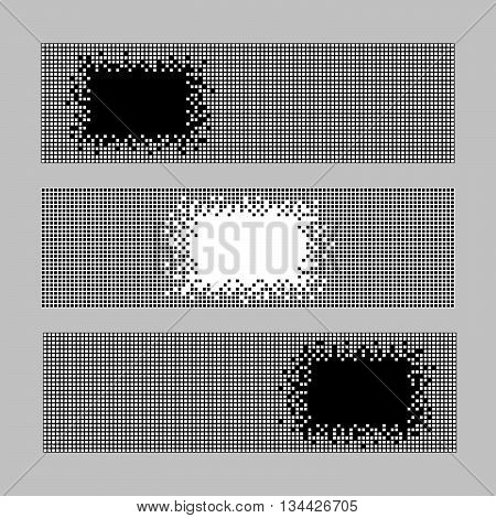 Set of Horizontal Pixel Banners. Abstract Geometric template with copy space for text. Simple Illustration for print, flyer or leaflet. Text frame. Can be used for invitation, postcard or poster.
