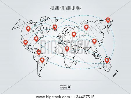 Polygonal abstract world map. Vector illustration. Abstract global connection structure. Continents connected with lines and pointers. Geometric world concept