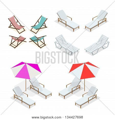 Beach chairs isolated on white background. Wooden and plastic beach chairs. Flat 3d vector isometric illustration