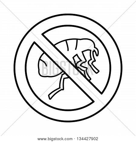 Etching insect icon in outline style isolated on white background