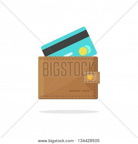 Wallet credit card vector illustration isolated on white background, wallet with electronic money concept