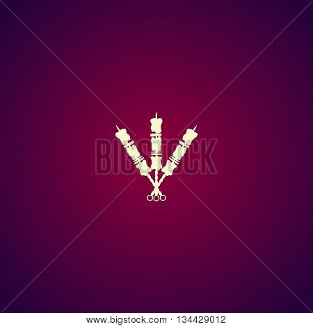 Shish Kebab On Skewers Icon. Modern Design Flat Style Icon.