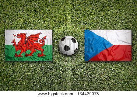 Wales Vs. Czech Republic Flags On Soccer Field