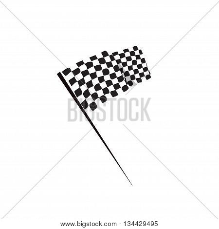 Waving finish flag vector icon, racing finishing flag pictogram, flat simple black and white style design isolated
