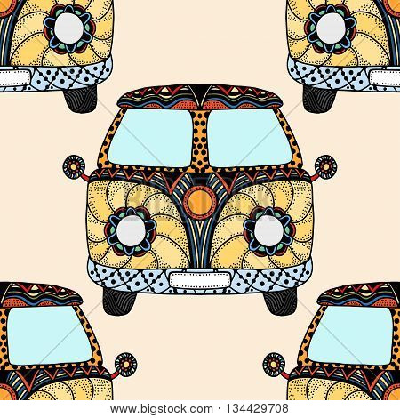 Seamless Pattern of Vintage car a mini van in zentangle style. Hand drawn image. The popular bus model in the environment of the followers of the hippie movement. Vector illustration.