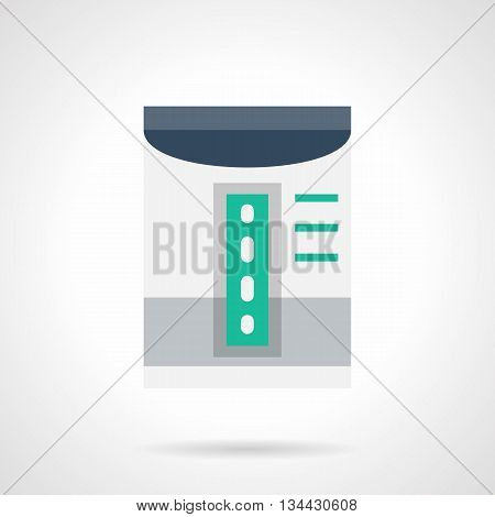 Gray room dehumidifier with green scale. Household appliances and devices for air improvement and cleaning. Climatic technics. Flat color style vector icon.