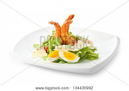 Seafood Caesar Salad with Shrimps, Salad Leaf, Croutons, Cherry Tomato, Eggs and Parmesan Cheese