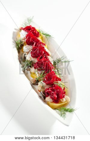 Salt Fish with Boiled Potato and Pickled Onions