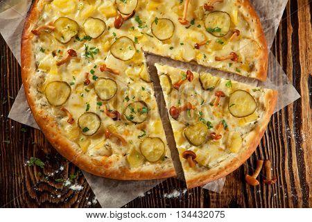 Wild Mushroom and Potato Pizza