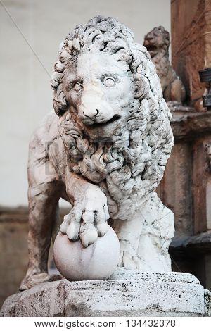 Statue of lion at Piazza Della Signoria Florence Italy