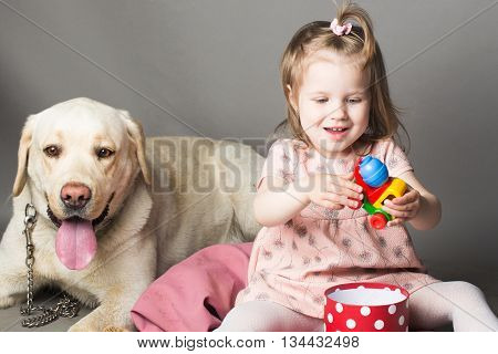 Little Girl With Labrador Dog