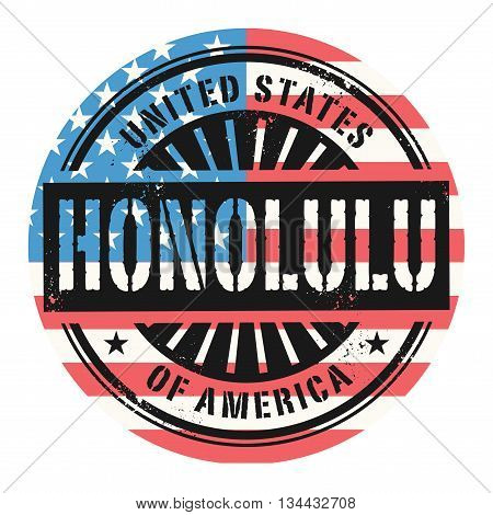 Grunge rubber stamp with the text United States of America, Honolulu, vector illustration