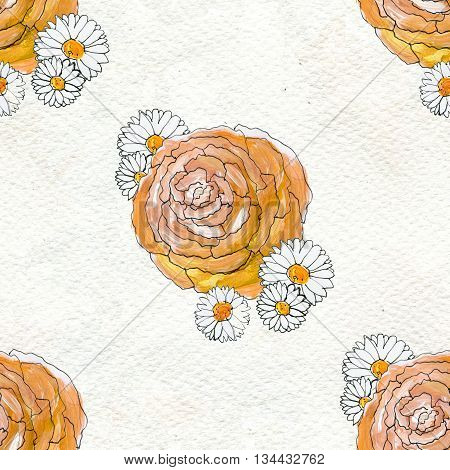 Seamless pattern with peony and chamomile flowers. Floral seamless watercolor background. Flower seamless pattern.