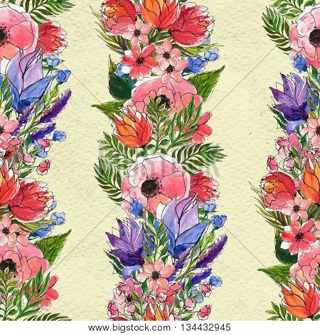 Floral seamless watercolor pattern. Vertical rows of flowers. Wildflowers and briar rose seamless hand drawn background. Floral illustration