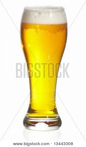 Glass of beer  with froth over white background