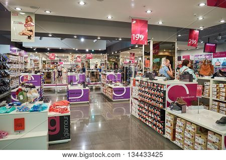 SAINT PETERSBURG, RUSSIA - CIRCA JULY, 2015: inside the store in Galeria shopping center. Galeria is major shopping and entertainment center is located in downtown of St. Petersburg