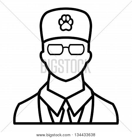 Veterinarian icon in outline style isolated on white background