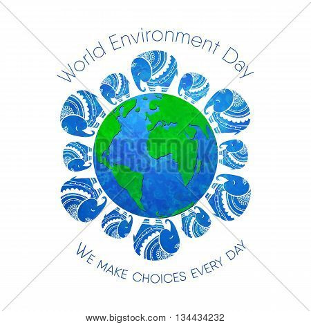 World environment day. Concept design for banner,  print, poster, greeting card. Vector illustration. Elephant Protection Day. Save, Protect the planet African elephants, the elephants of India.