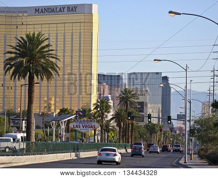 LAS VEGAS, NEVADA, MAY 24. Las Vegas Boulevard on May 24, 2016, in Las Vegas, Nevada. A view of the south end of Las Vegas Boulevard looking north at Las Vegas Nevada.
