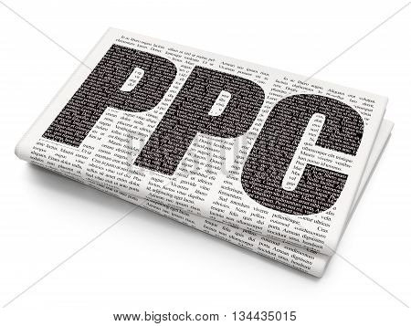 Advertising concept: Pixelated black text PPC on Newspaper background, 3D rendering