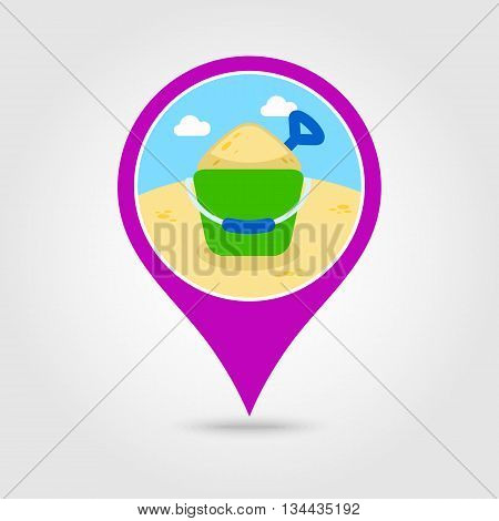 Sand Bucket and shovel vector pin map icon. Beach Map pointer. Summer Map markers. Holiday. Summertime. Vacation eps 10